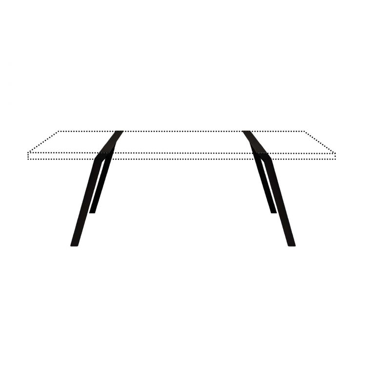 Raw steel trestles metal coated contemporary dining table furniture